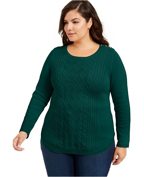 Charter Club Plus Size Cable-Knit Sweater, Created For Macy's