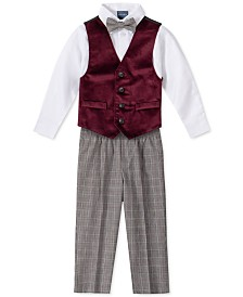 Nautica Toddler Boys Regular-Fit 4-Pc. Burgundy Velvet Vest Set