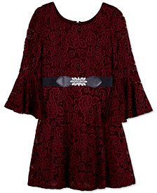 BCX Big Girls Belted Lace Bell-Sleeve Dress
