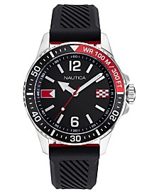 Nautica Men's Freeboard Black, Red Silicone Strap Watch Box Set