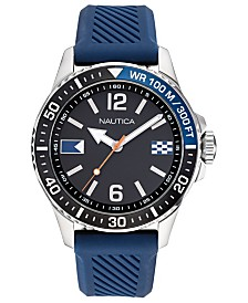 Nautica Men's Freeboard Blue, Black Silicone Strap Watch 44mm