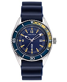 N83 Men's Urban Surf Navy, Yellow Silicone Strap Watch 44mm