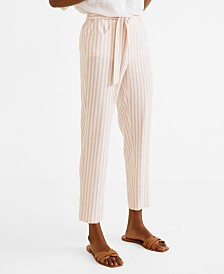 Mango Striped Linen-Blend Trousers