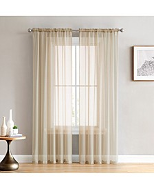 "Lucido By Canberra Sheer Voile Rod Pocket Curtain Panels - 54"" W X 84"" L - Set of 2"