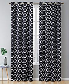 Obscura by Bunbury Lattice Print Blackout Grommet Curtain Panels - 52 W x 96 L - Set of 2