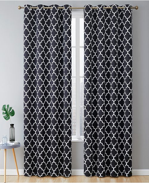 """HLC.me Obscura By Bunbury"""" Lattice Print Blackout Grommet Curtain Panels - 52"""" W X 96"""" L - Set of 2"""