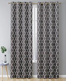 Obscura Bunbury Lattice Print Blackout Grommet Curtain Panels - 52 W x 72 L - Set of 2