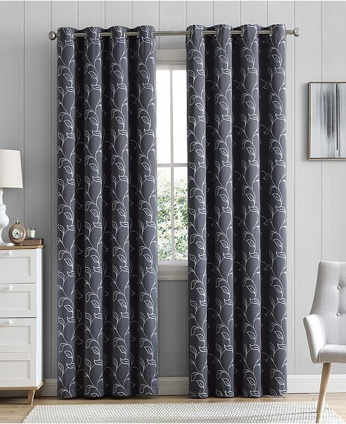 "HLC.me Obscura By Hobart Floral Blackout Grommet Curtain Panels - 52"" W X 96"" L - Set of 2"