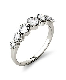 Moissanite Graduated Seven Stone Band 7/8 ct. t.w. Diamond Equivalent in 14k White, Yellow, or Rose Gold