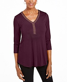3/4-Sleeve Studded Top, Created For Macy's