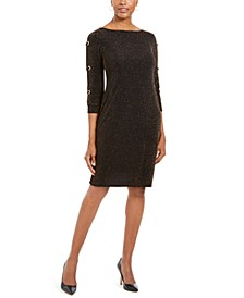 Metallic Grommet-Sleeve Sheath Dress, Created For Macy's