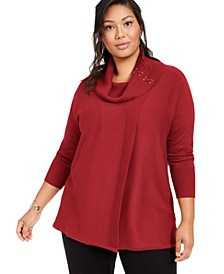 Plus Size Lace-Up Cowlneck Sweater, Created for Macy's