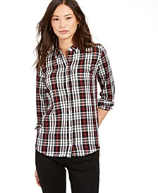 Petite Plaid Cotton Button-Up Shirt, Created For Macy's