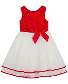 Toddler Girls Basketweave Bow Dress