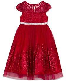 Little Girls Glitter-Mesh Rose Dress