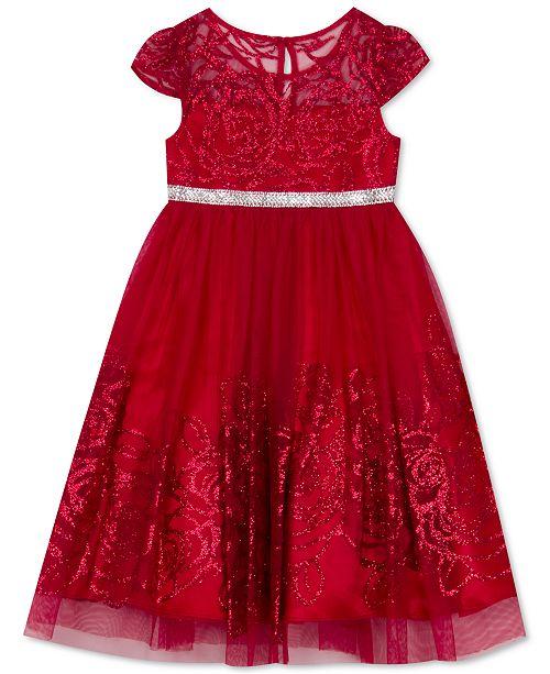 Rare Editions Toddler Girls Glitter-Mesh Rose Dress