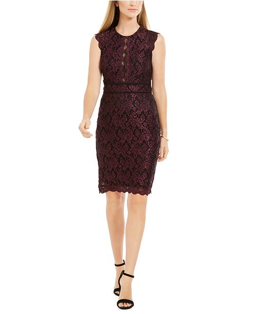 Nightway Metallic Lace Sheath Dress