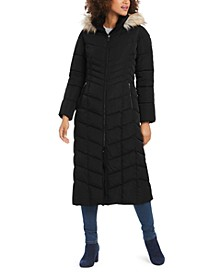 Hooded Faux-Fur-Trim Maxi Puffer Coat