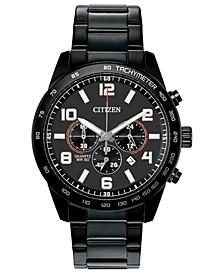 Men's Chronograph Quartz Black Stainless Steel Bracelet Watch 44mm