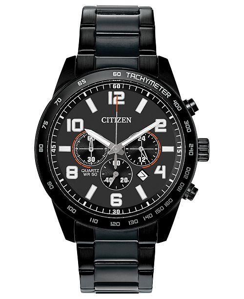 Citizen Men's Chronograph Quartz Black Stainless Steel Bracelet Watch 44mm