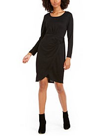 Petite Long-Sleeve Faux-Wrap Dress