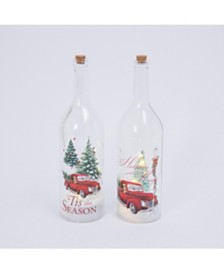 Gerson & Gerson Assorted Battery-Operated Holiday Truck Glass Bottle with Snow Blowing Feature - Set of 2