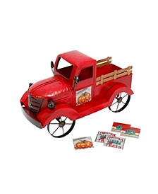 18.9-Inch-Long Metal Antique Red Truck with 3 Season Magnets
