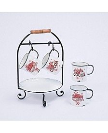 """11.6-Inch Long Metal """"Hot Cocoa"""" Holiday Serving Rack with Tray and Mugs"""