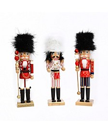 Assorted Wood 15-inch High Nutcracker Figurines - Set of 3