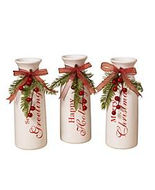 9.5 in. White Dolomite Holiday Vases - Set of 3