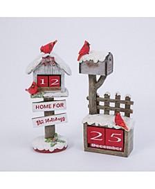 Assorted 10.5-Inch Cardinal Poly-Resin Holiday Cardinal Bird House - Set of 2