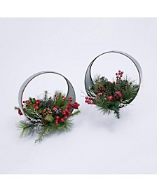 Oval Metal Table-Top Candle Holder with Floral Accents - Set of 2