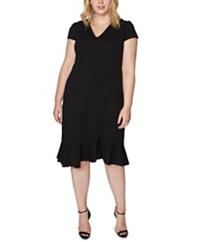 Betsey Johnson Plus Size V-Neck Flounce Midi Dress