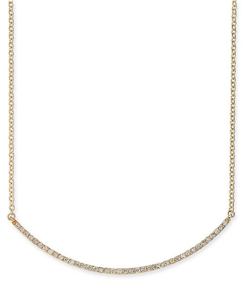 """Macy's Diamond Curved Bar 18"""" Statement Necklace (1/2 ct. t.w.) in 14k Gold"""