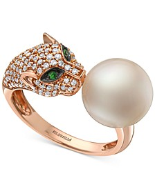 EFFY® Cultured Freshwater Pearl (10mm), Diamond (3/8 ct. t.w.) & Tsavorite Accent Panther Ring in 14k Rose Gold
