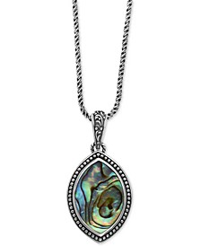 "EFFY® Abalone Marquise 18"" Pendant Necklace in Sterling Silver"