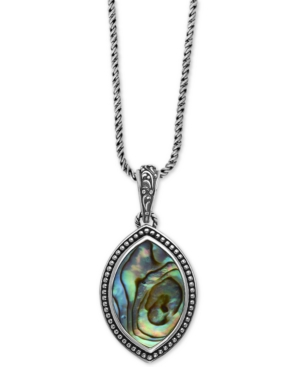 """Effy Abalone Marquise 18"""" Pendant Necklace in Sterling Silver"""