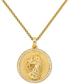 """LEGACY for MEN by Simone I. Smith Men's Crystal Horse Head Medallion 24"""" Pendant Necklace in Yellow Ion-Plated Stainless Steel"""