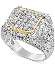 Men's Diamond Two-Tone Cluster Ring (1-1/2 ct. t.w.) in 10k Gold & White Gold