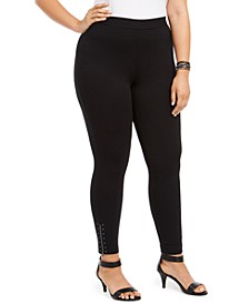 Plus Size Ankle-Zip Leggings, Created for Macy's