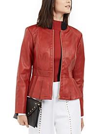 I.N.C. Faux-Leather Peplum Jacket, Created For Macy's