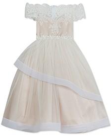 Big Girls Lace-Overlay Off-The-Shoulder Dress