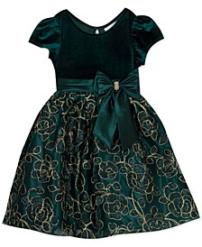 Little Girls Velvet Embroidered Bow Dress
