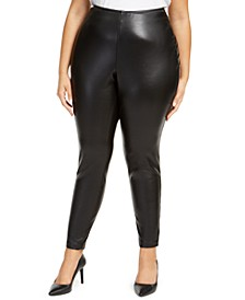 Plus Size Faux-Leather Leggings