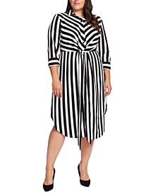Plus Size Striped Tie-Waist Shirtdress