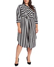 Vince Camuto Plus Size Striped Tie-Waist Shirtdress