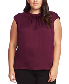 Vince Camuto Plus Size Pleated Cap-Sleeve Blouse