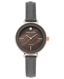 Women's Diamond-Accent Gray Leather Strap Watch 30mm