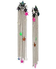 Betsey Johnson Tri-Tone Shooting Stars Chain Fringe Clip-On Earrings