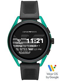 Men's Black Silicone Strap Touchscreen Smart Watch 44.5mm